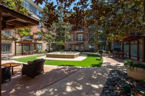 One Bedroom Apartments for Rent in Houston, TX - Outdoor Covered Seating Area with Grill & Fountain View