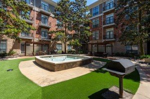 One Bedroom Apartments for Rent in Houston, TX - Outdoor Grill Area with Fountain View