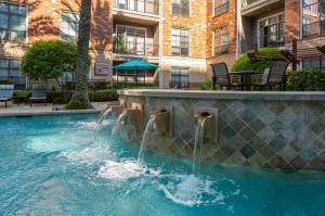 One Bedroom Apartments for Rent in Houston, TX - Up Close Pool Fountain