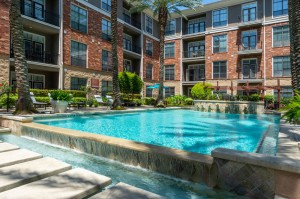 One Bedroom Apartments for Rent in Houston, TX - Up close Pool with Waterfall Overflow