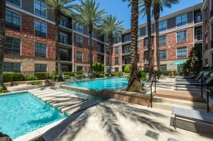 One Bedroom Apartments for Rent in Houston, TX - Pool with Lounges & Trees