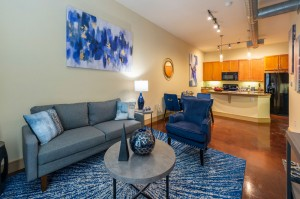 Two Bedroom Apartments for Rent in Houston, TX - Model Living Room, Dining Room & Kitchen