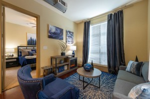 Two Bedroom Apartments for Rent in Houston, TX - Model Living Room with Bedroom View